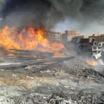 Le feu ravage une aire de stockage de la C.A.M.E.G.filiale SONELGAZ de Sidi Bel Abbes