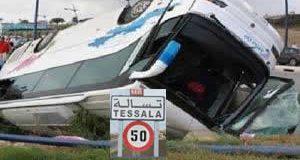 Tessala : Dérapage  d'un bus transportant des vacanciers fait 34 blessés.